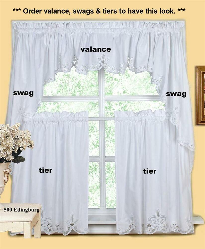 White Battenburg Lace Kitchen Curtain Valance Tier Swag Creative ...