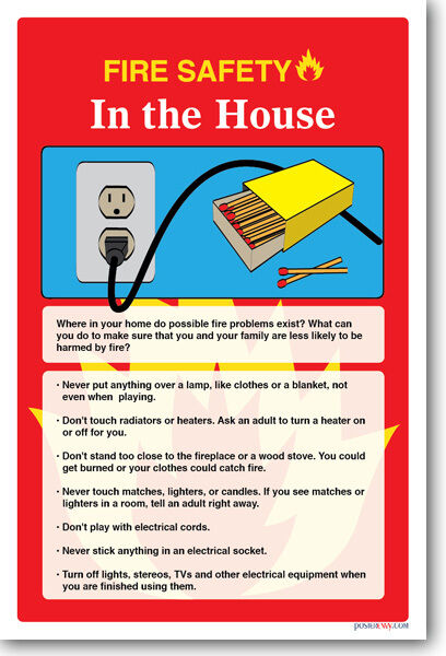 New safety cautionary poster fire safety in the house ebay for Fire prevention tips for home