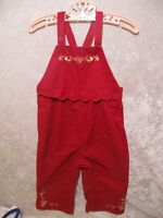 """Gymboree """"Apple for the Teacher"""" Floral Red Corduroy Overall Pants, 12-18 mos."""