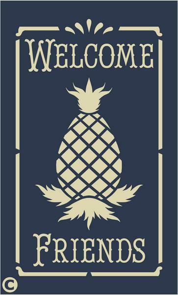 Primitive Stencil Welcome Friends With Pineapple Home