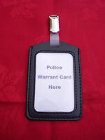 Black ID Pass/Warrant Card/Badge Holder+Plastic/Metal Belt Clip -POLICE/CO19 (P)