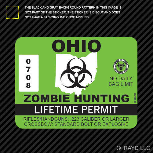 Ohio zombie hunting permit sticker die cut decal outbreak for Buy ohio fishing license online