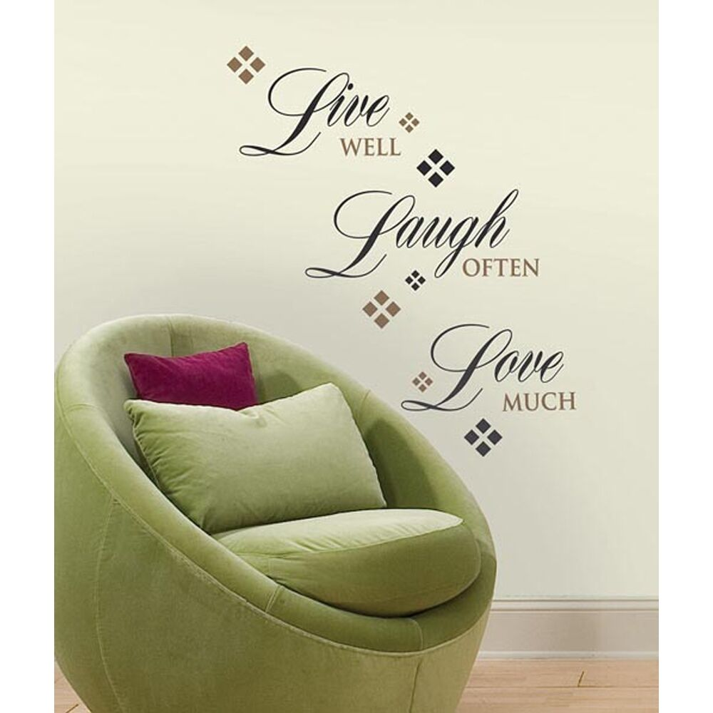 new live well laugh often love much wall decals home. Black Bedroom Furniture Sets. Home Design Ideas