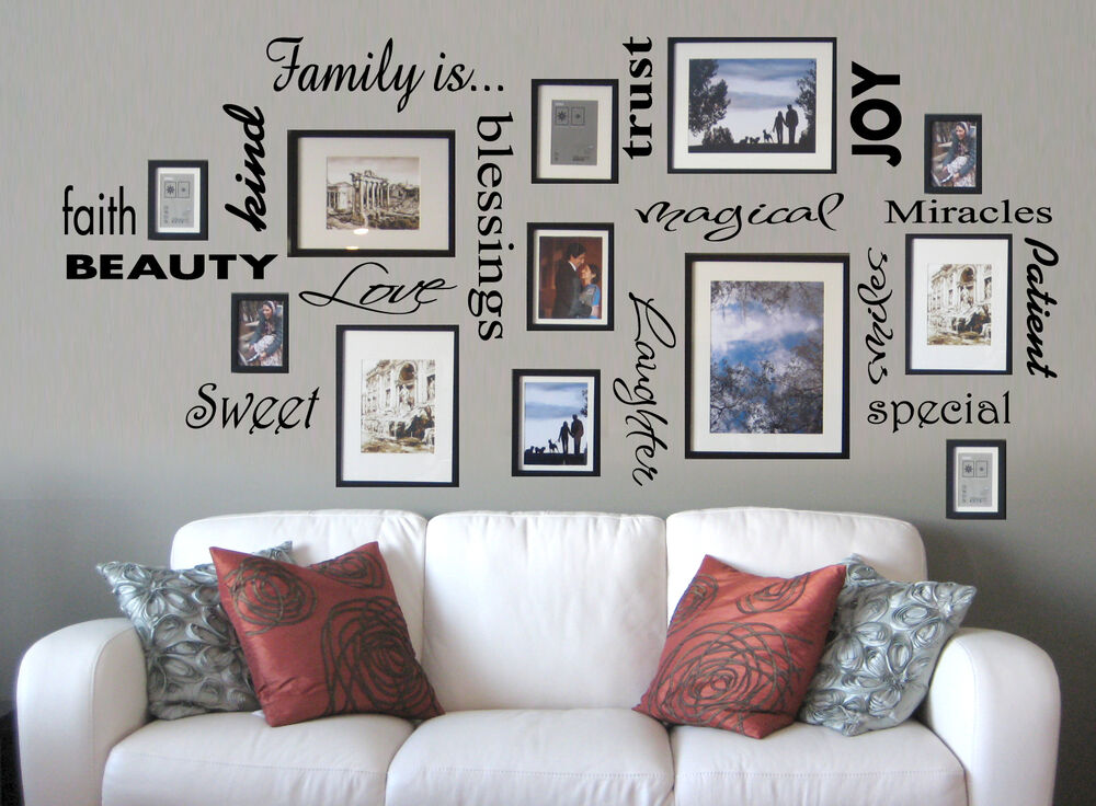 Word Wall Art Vinyl Lettering Home Decor ~ Vinyl lettering family is sticky word quote wall art decor