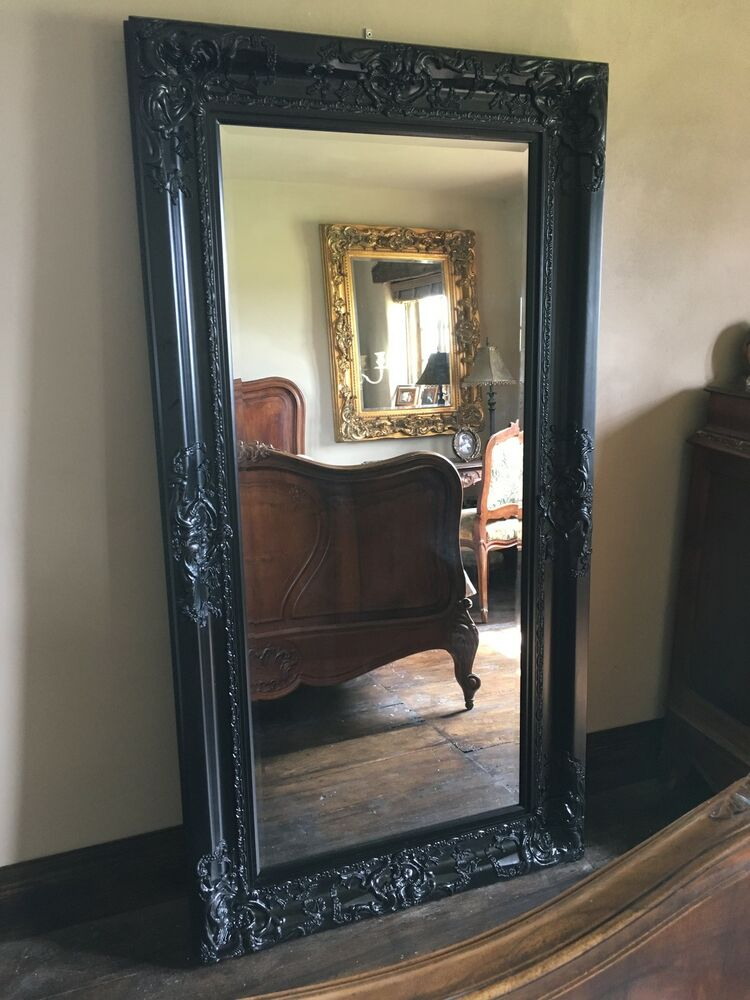 Chateau matt black ornate large boudoir french bevelled for Mirror black