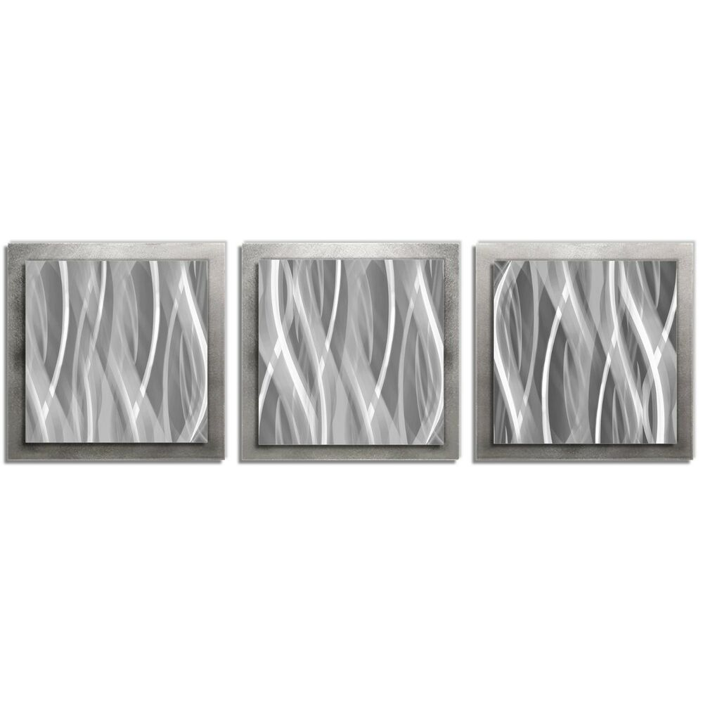 Modern silver wall art contemporary metal artwork abstract for Silver wall art