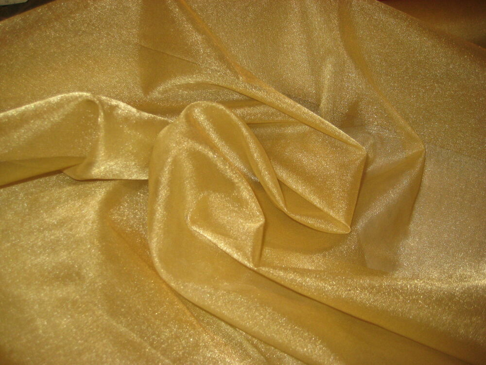 Gold sheer iridescent 100 polyester organza fabric 58 for Sheer fabric