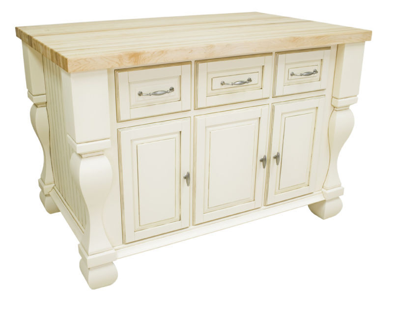 54 kitchen island antique white finish ebay for Antique kitchen island