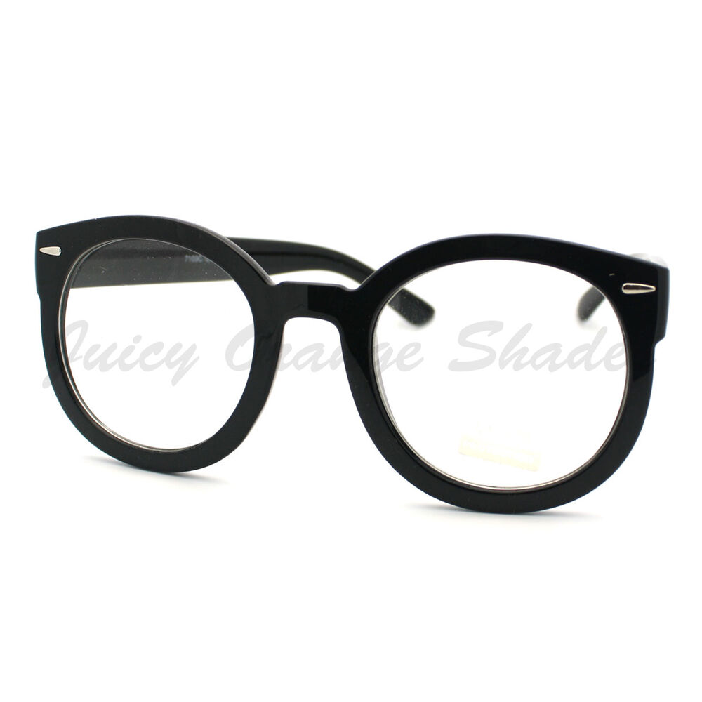 Womens Clear Lens Eyeglasses Round Thick Oversize Frame ...