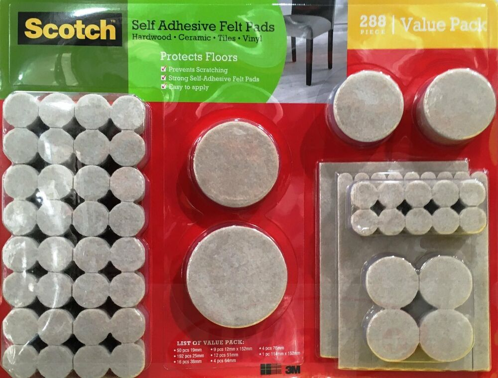 Scotch 288 Pcs Self Adhesive Felt Pads Heavy Duty