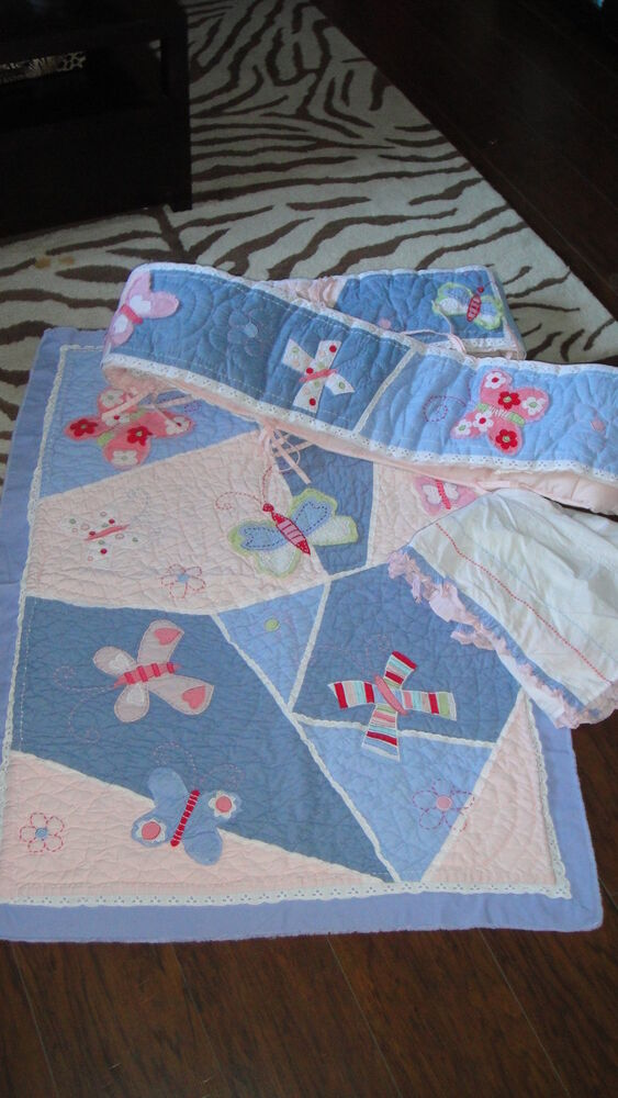 Pottery Barn Kids Sophie Blue Butterfly Crib Set Quilt