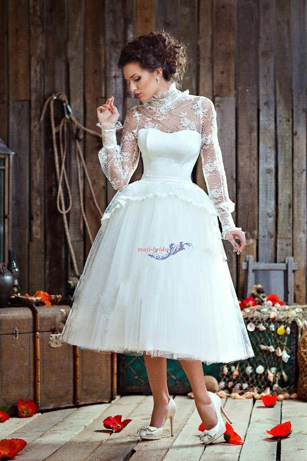 Newest high neck long sleeve ball gown lace tea length for Long sleeve lace tea length wedding dress
