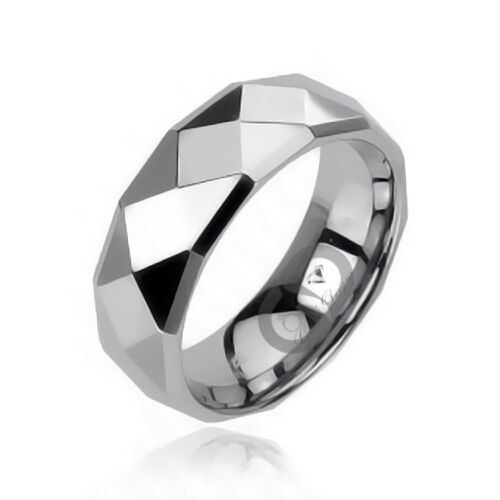 Tungsten Carbide Faceted Wedding Engagement Band Ring With Drop Down Edges