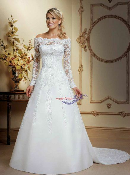 Boat neck long sleeve a line ivory white lace wedding A line wedding dress with detachable train