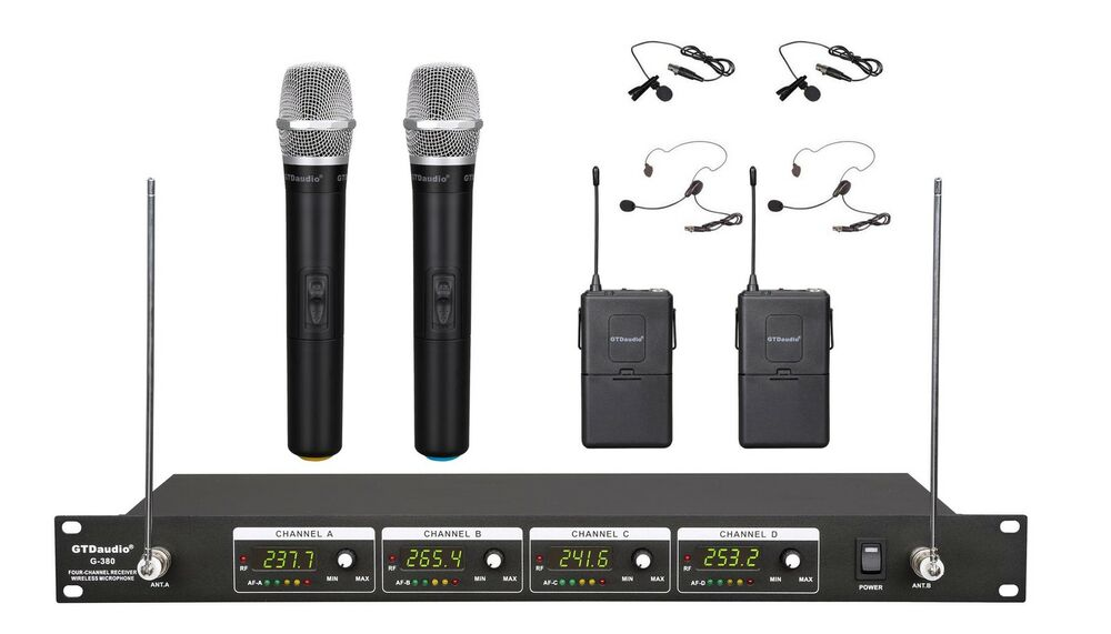 4 channel vhf handheld lapel headset wireless microphone system new 380hl ebay. Black Bedroom Furniture Sets. Home Design Ideas