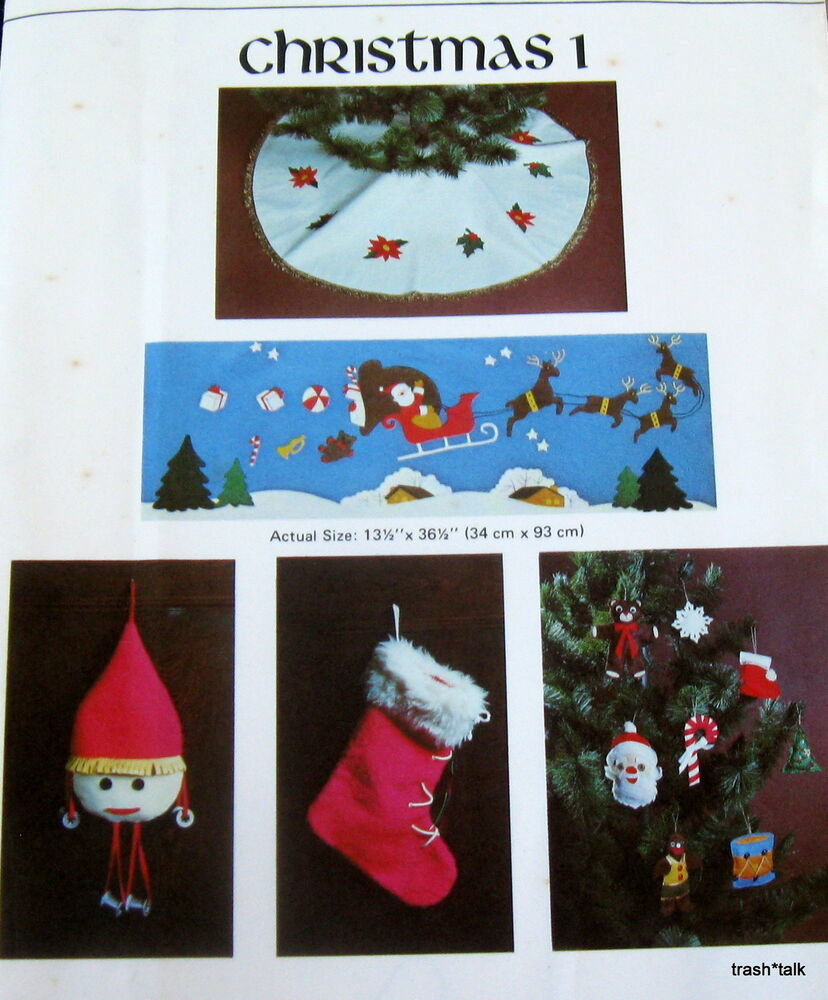 Free Christmas Ornament Template: Vtg VIKING Christmas Pattern FELT Applique Wallhanging