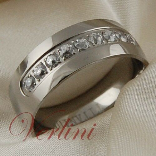 Titanium ring white diamond simulated wedding band bridal jewelry size