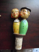 """Antique Hand Carved Wood Resin BOLLA Bottle Stopper Kissing Man & Woman 4 3/4"""""""
