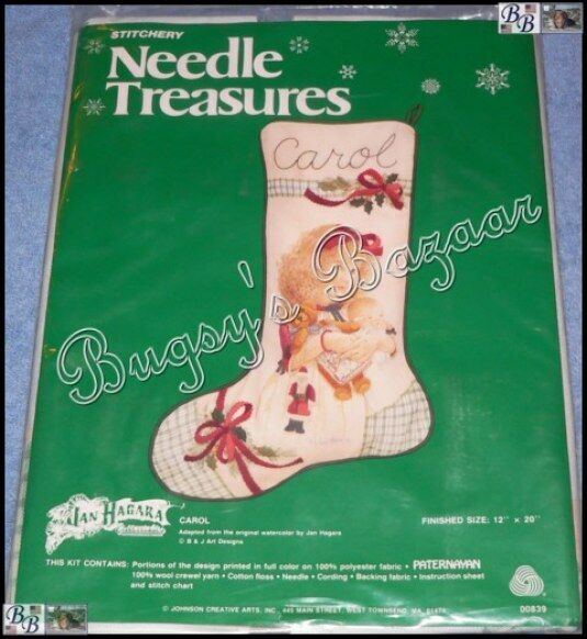 Jan Hagara Cross Stitch Patterns: Needle Treasures CAROL STOCKING Crewel Stitchery Christmas