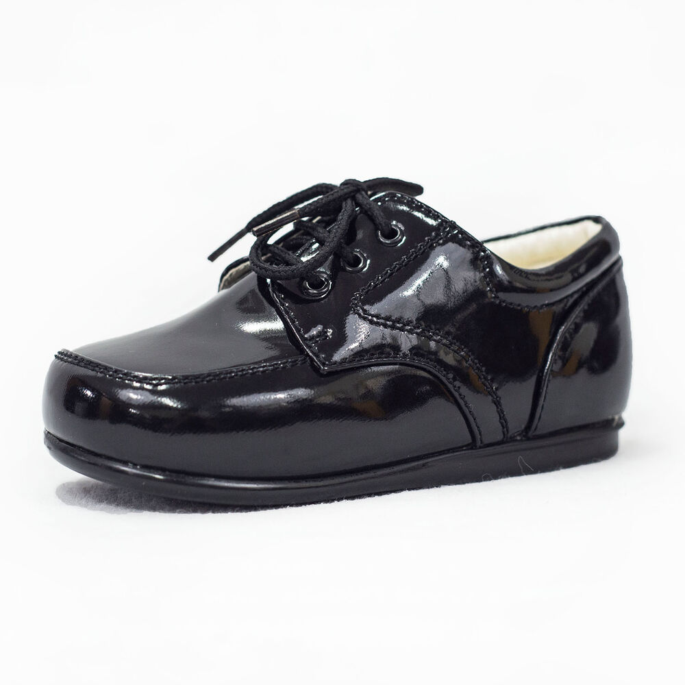 baby boys formal shoes laces patent wedding pageboy