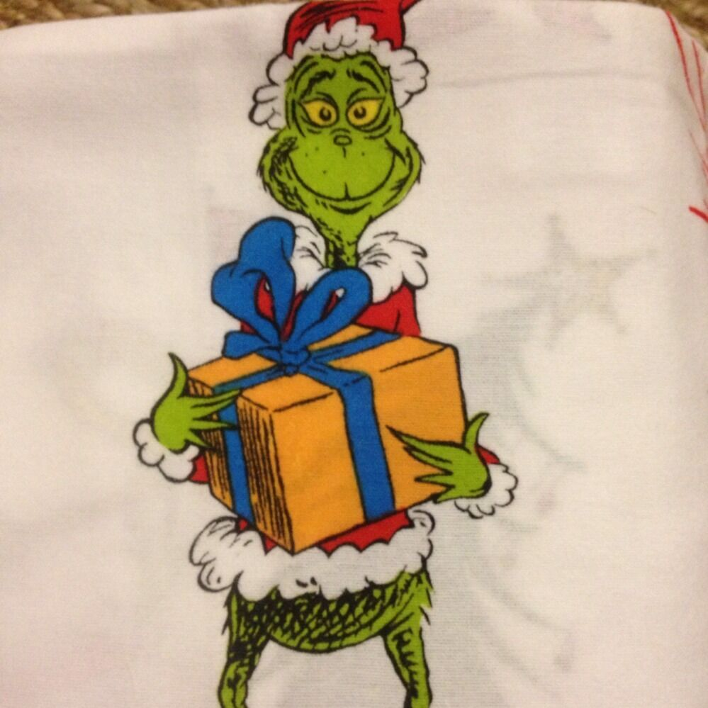 Nwt Pottery Barn Kids Grinch Twin Flannel Sheet Set Dr