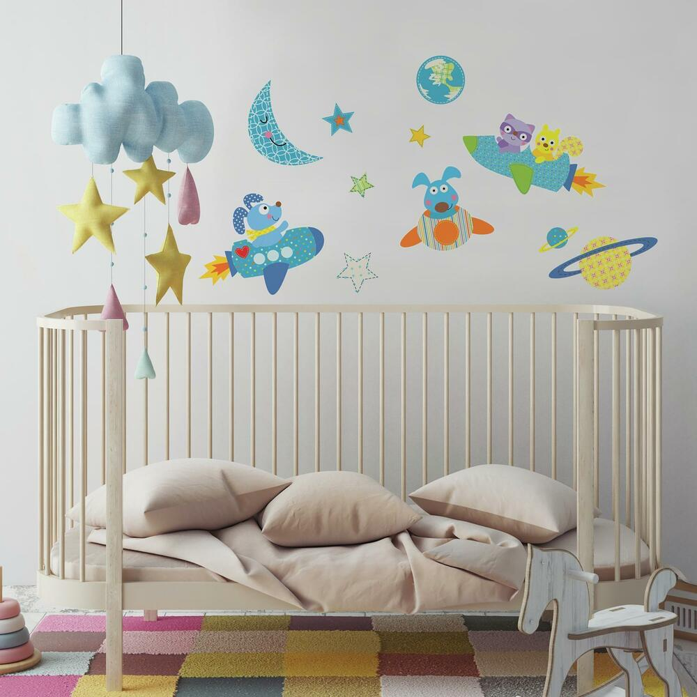 51 new rocket dog wall decals baby nursery outer space for Outer space vinyl wall decals