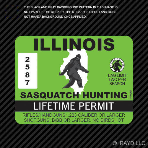 Illinois sasquatch hunting permit sticker die cut decal for Buy illinois fishing license online
