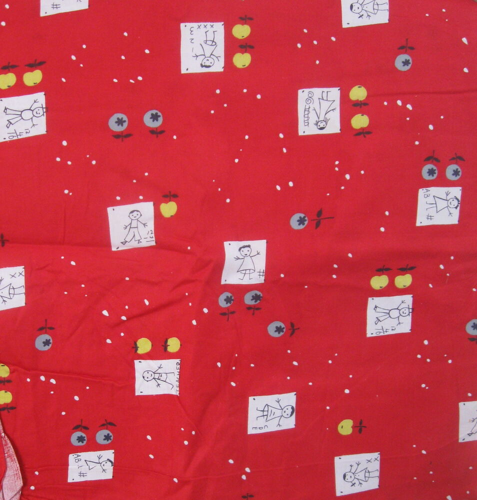 Vintage novelty baby cotton fabric red stick figure school for Retro baby fabric