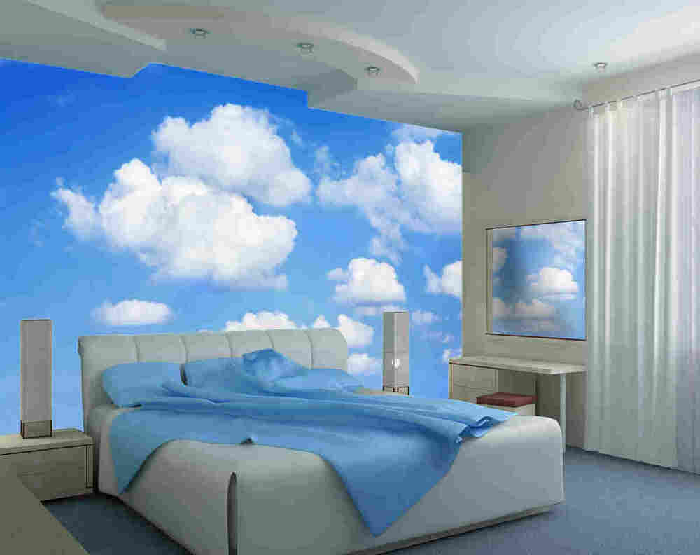 Clouds 12 39 w by 8 39 h wall mural ebay for Blue and white bedroom wallpaper
