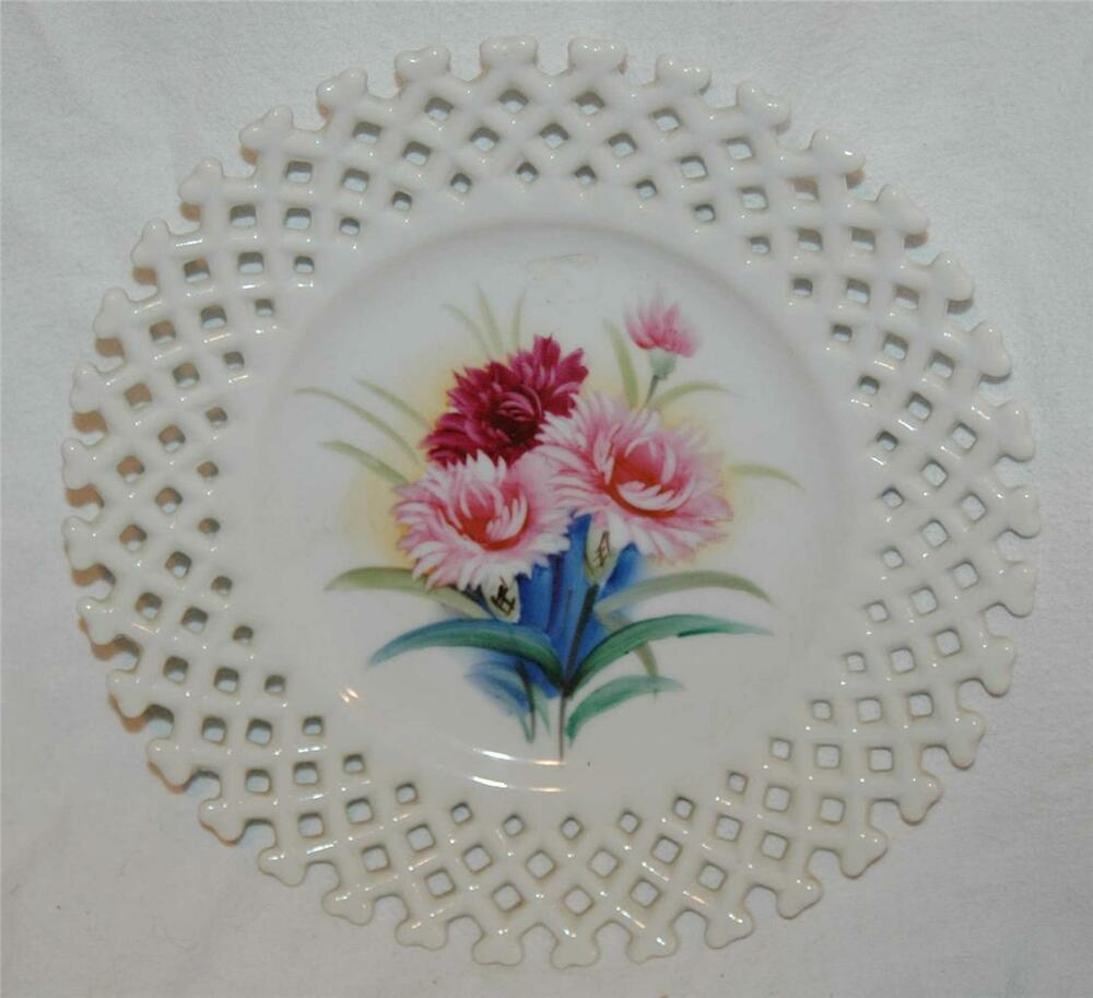 Vintage decorative plate dish floral perforated edges ebay for Decoration plater