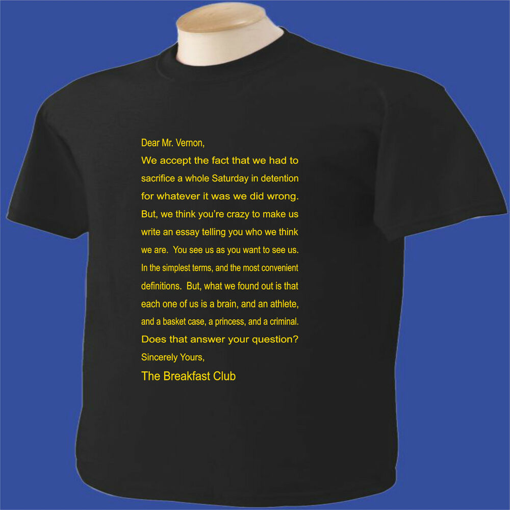 The breakfast club letter t shirt ebay for T shirts for clubs