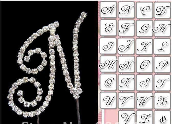 Cake Toppers Letters Uk : 7cm Crystal Diamonte Rhinestone Letter Cake Topper ...