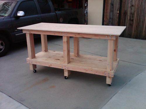 Perfect Solid Wood Work Bench On Heavy Duty Casters Ebay