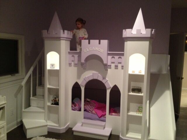 New custom princess eleanor 39 s castle loft bunk playhouse for How to build a castle bed