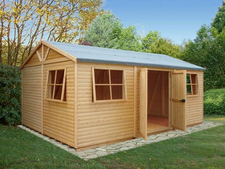 Garden shed workshop 39 mammoth 39 12 39 x18 39 in loglap 19x114mm for Garden shed tab