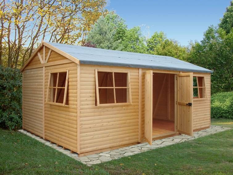 Garden shed workshop 39 mammoth 39 12 39 x18 39 in loglap 19x114mm for 12x18 shed window
