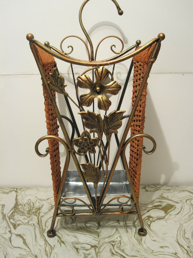 antique looking copper metal wrought iron umbrella holder stand ebay. Black Bedroom Furniture Sets. Home Design Ideas