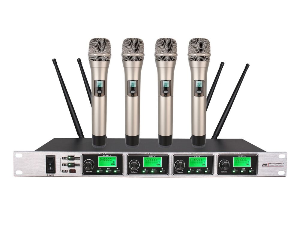 professional 4 channel uhf wireless microphone mic system for shure wireless ebay. Black Bedroom Furniture Sets. Home Design Ideas