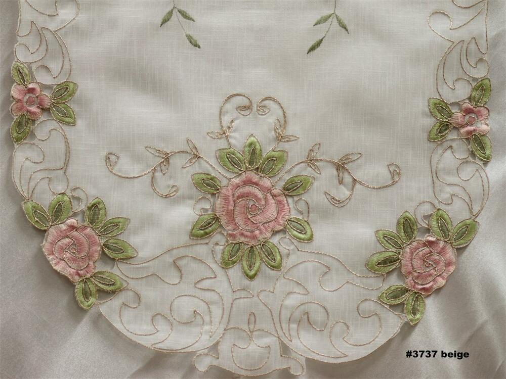 Spring Embroidered Pink Rose Floral Sheer Placemat Table