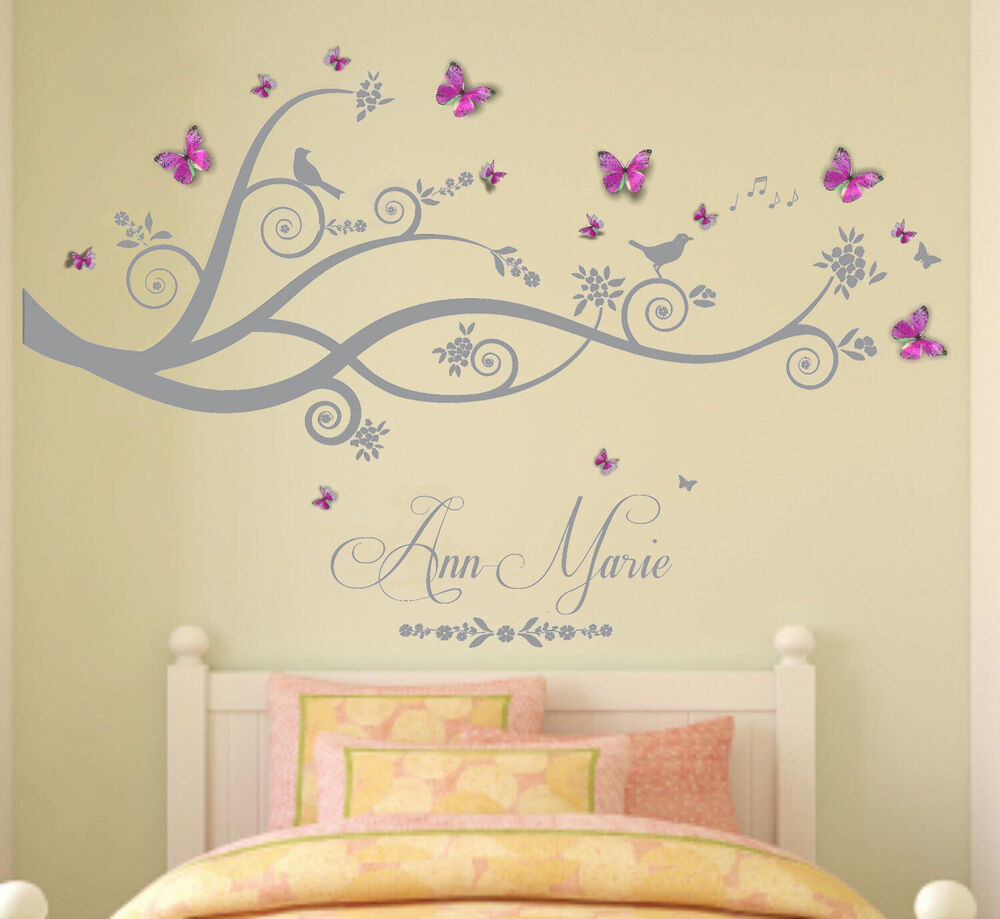 Personalised name tree birds 3d butterflies wall art for Bedroom 3d wall stickers