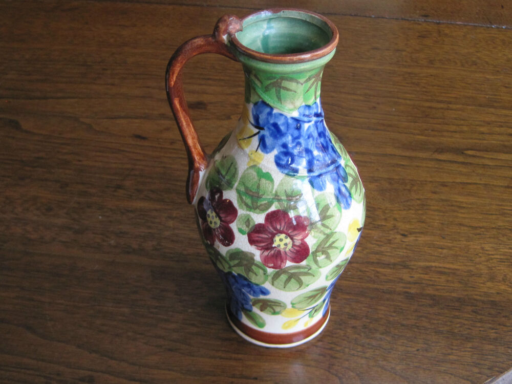 Antique Handpainted Quot Peacock Flower Amp Fruit Quot 7 1 2 Tall Pitcher Vase With Handle Ebay