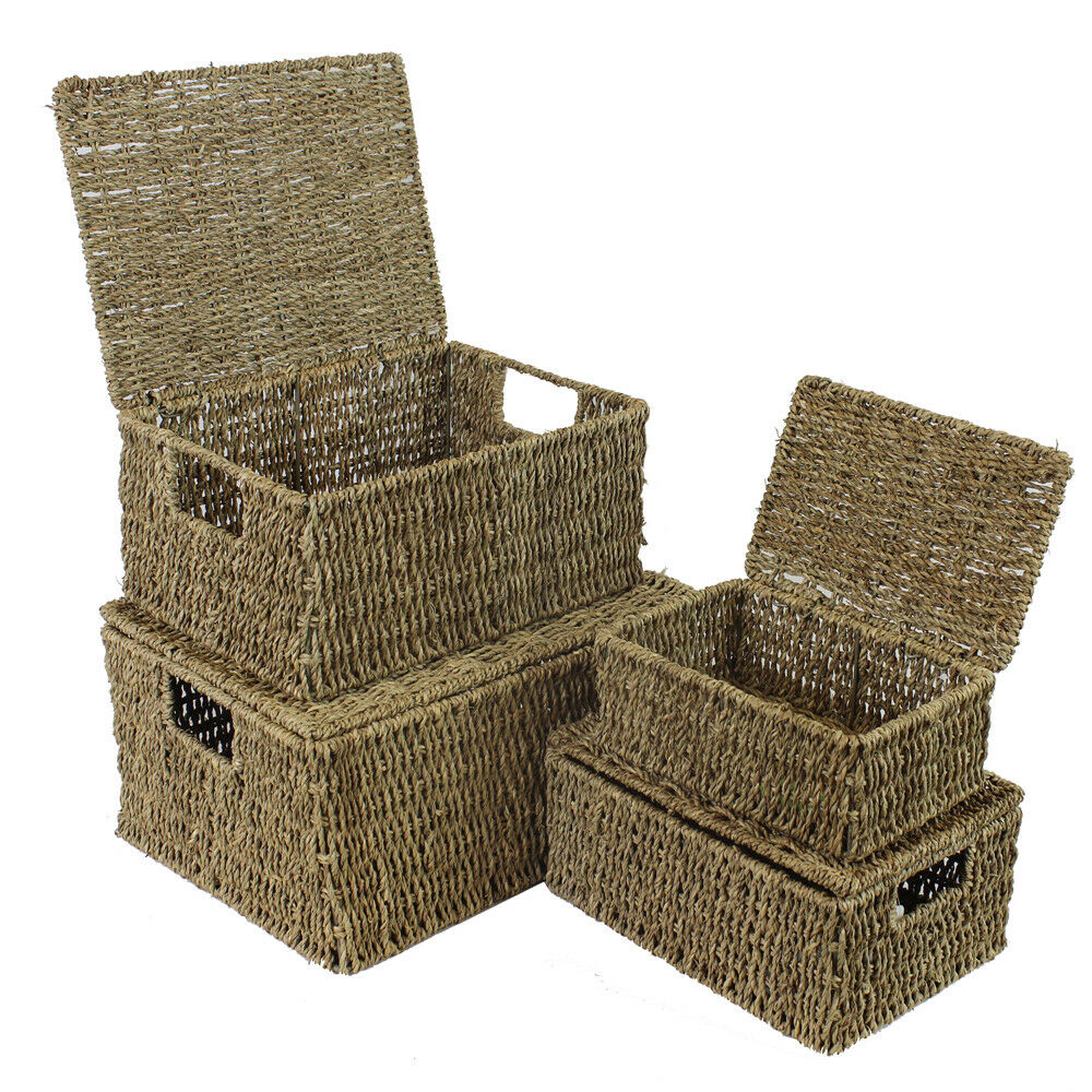 Seagrass Storage Baskets: JVL Set Of 4 Seagrass Storage Boxes Baskets With Hinged