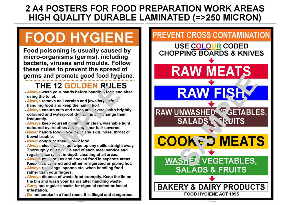 commercial kitchen laws food hygiene 2 kitchen a4 signs 12 golden amp prevent 290