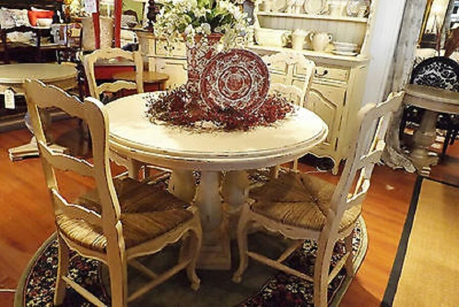 French country column dining 48 round dining table off for Distressed white dining table
