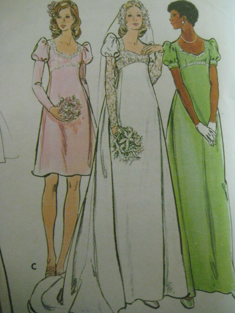 Vintage butterick 3478 high seamed bridal gown sewing for Wedding dress patterns vintage