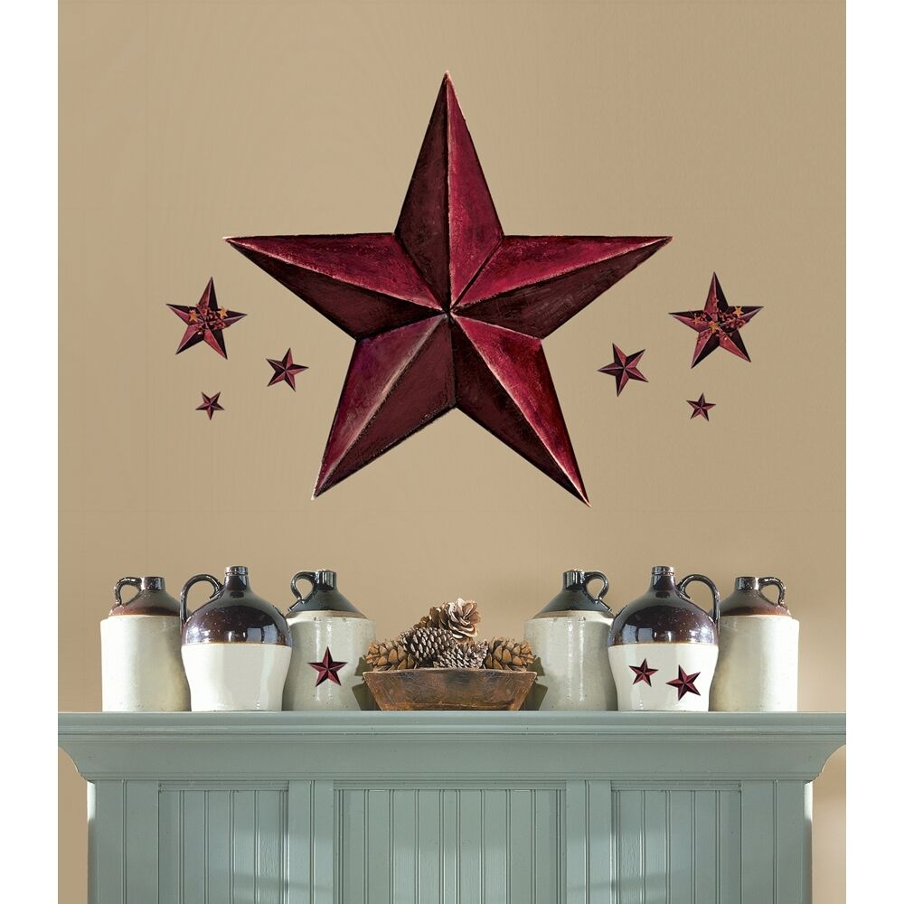 new giant burgundy barn star wall decals country kitchen stars stickers decor ebay. Black Bedroom Furniture Sets. Home Design Ideas