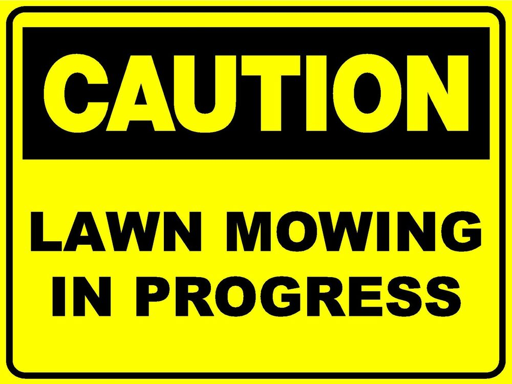 2 x signs caution lawn mowing in progress 450 x 300mm corflute sign ebay