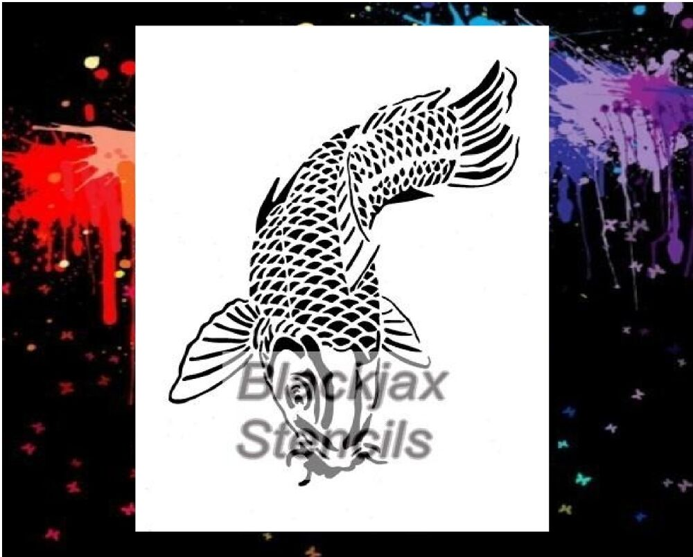 Koi fish large airbrush stencil template wall stencil ebay for Koi fish stencil