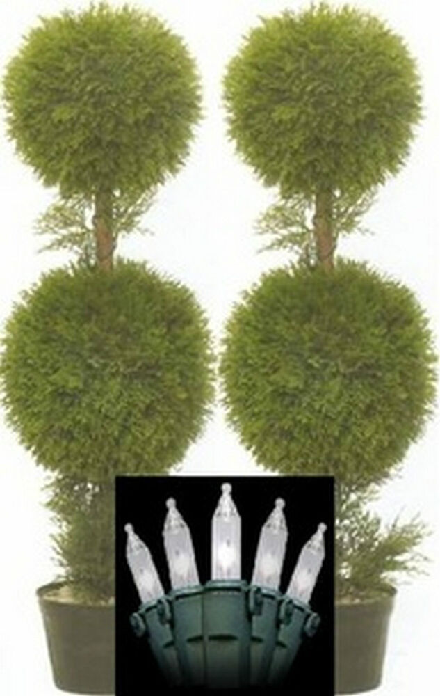 two 3 foot artificial cedar cypress topiary trees potted. Black Bedroom Furniture Sets. Home Design Ideas