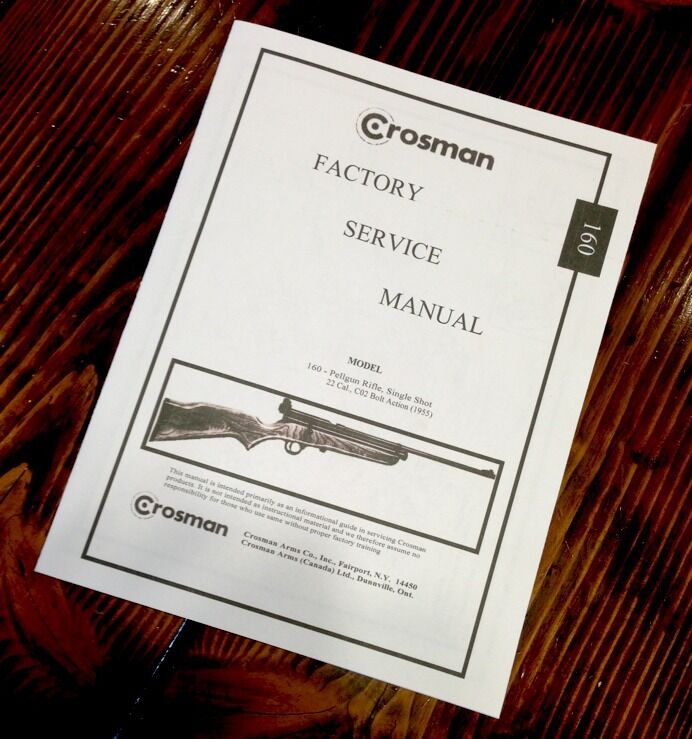 Crosman Factory Service Manual Model 160 Pellgun Rifle Single Shot 22 Cal Pellet